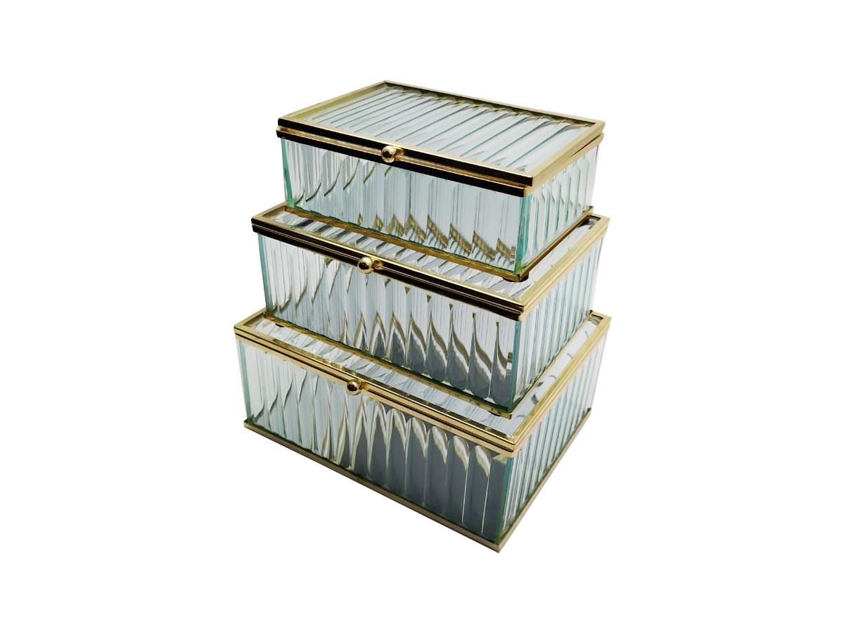 Caixa de Vidro Plissada Retangular Espelhada Borda Dourada com 3 Peças