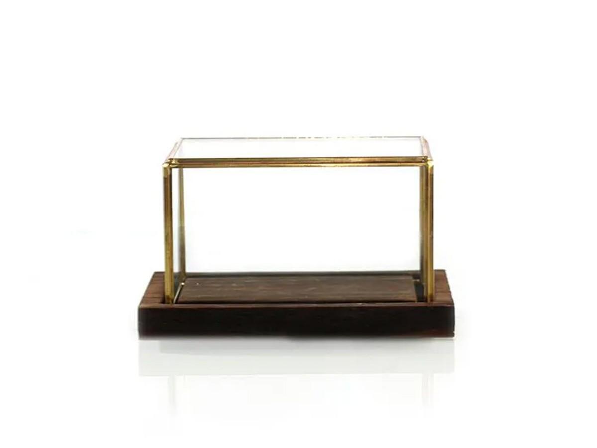 Caixa de vidro retangular com base em madeira - 22 x 13,5 x 12 cm