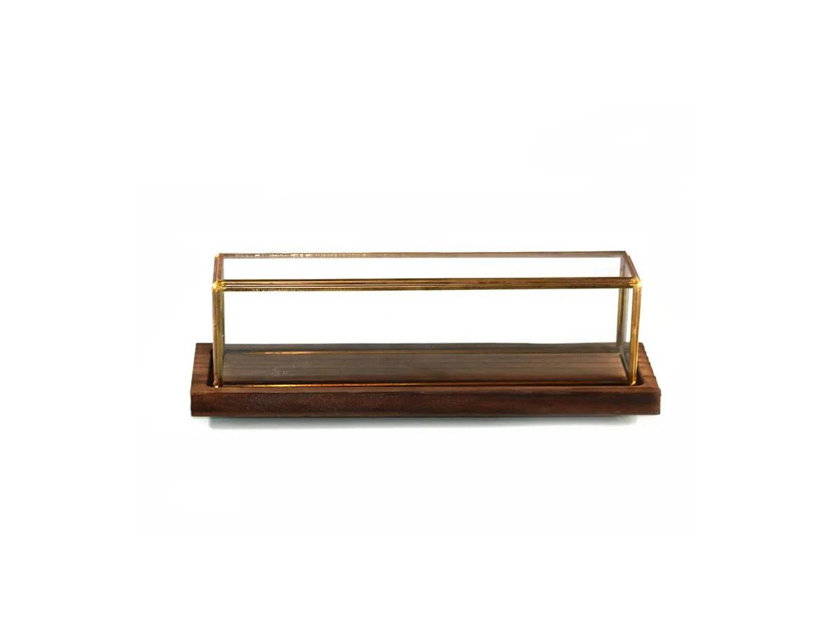 Caixa de vidro retangular com base em madeira - 38 x 12 x 11 cm