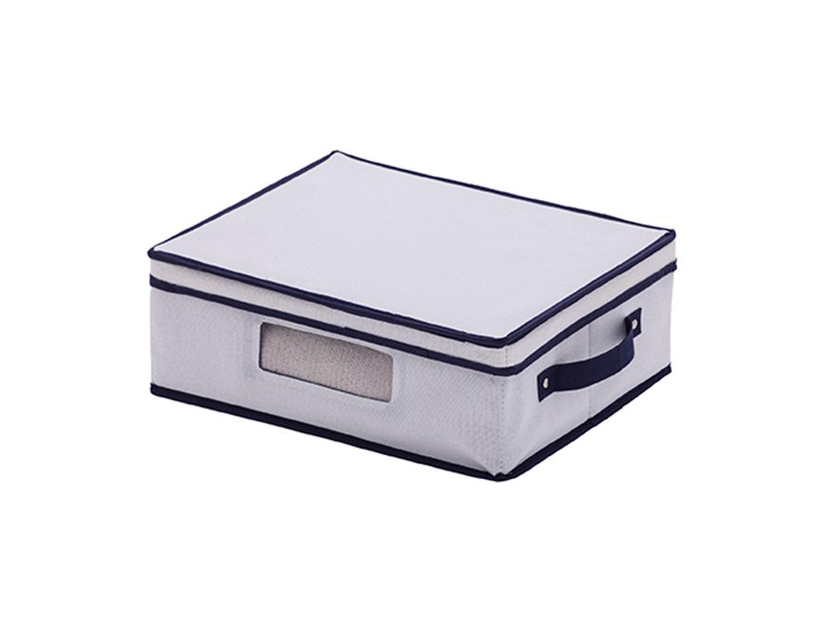 Caixa Organizadora Linho Multiuso com Visor 38x32x14cm