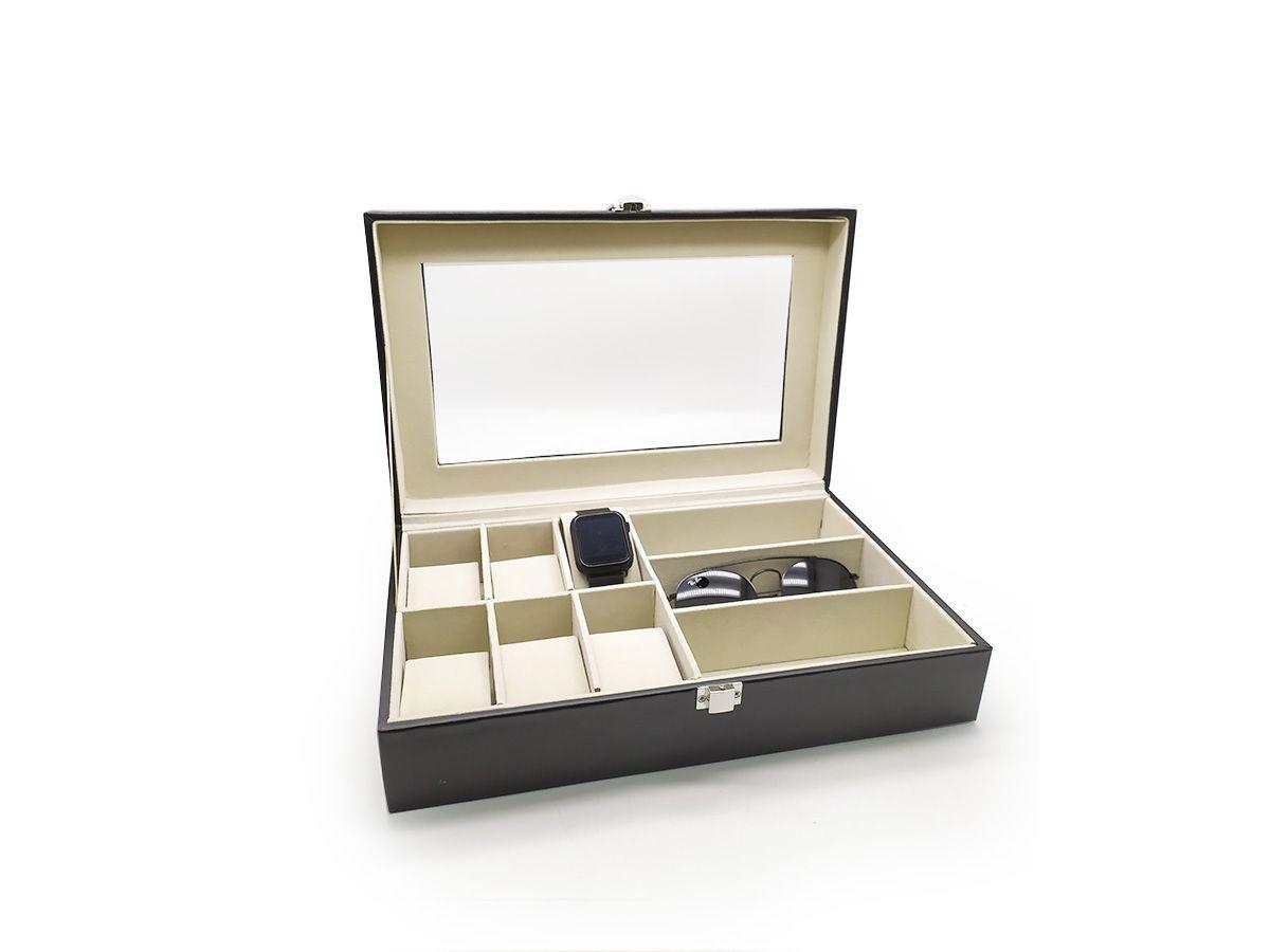 Caixa para 06 relógios e 03 óculos em Couro Ecológico - 33 x 20 x 09 cm