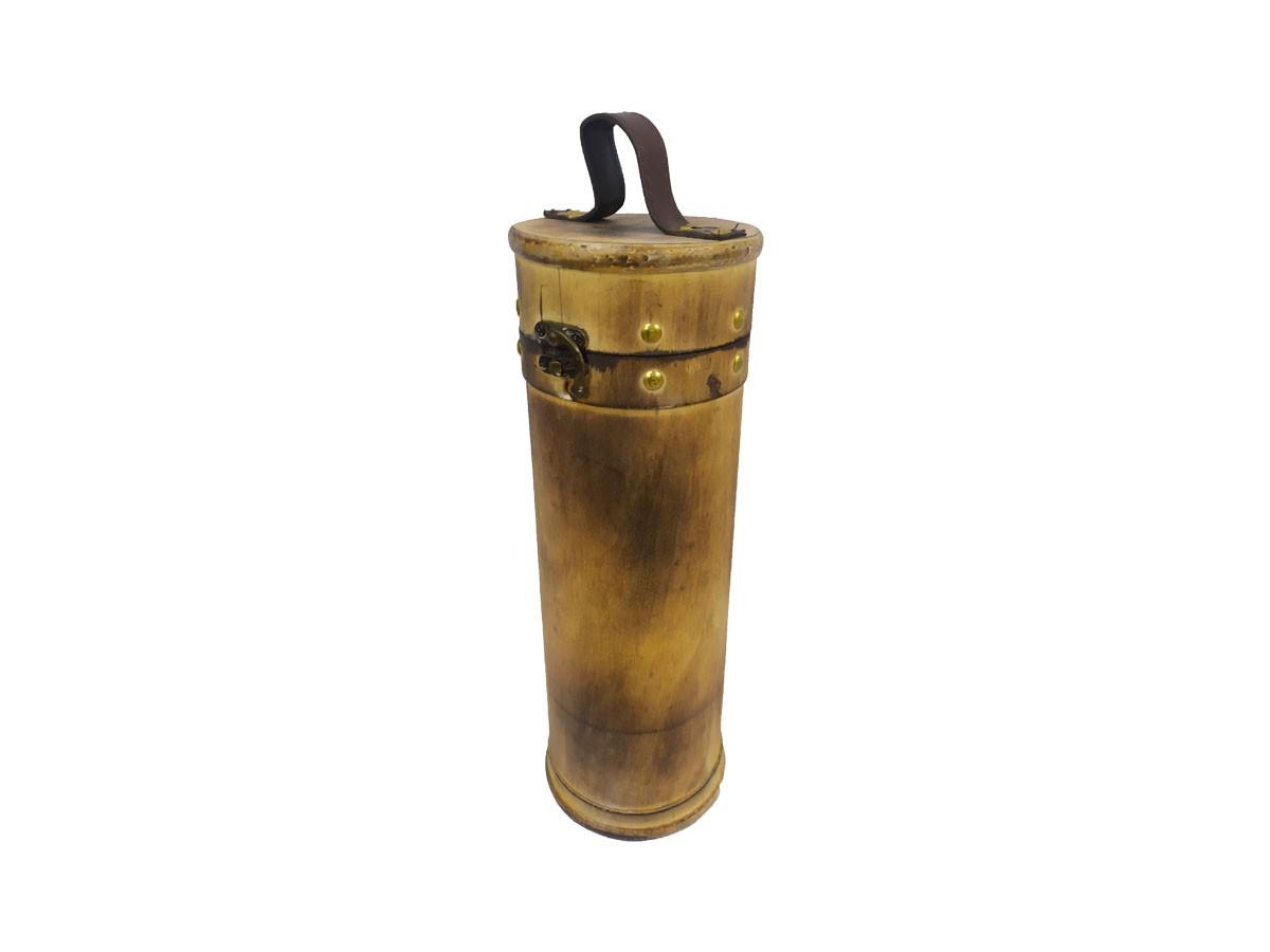 Caixa Porta Garrafa de Vinho de Madeira com Alça 11,5X34,5cm