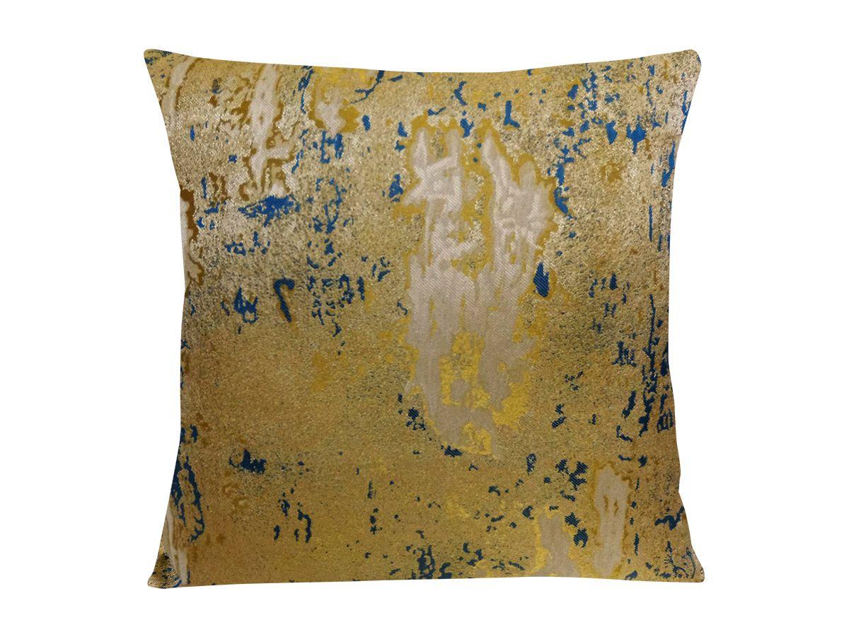 Capa De Almofada Polyester Adamascado Ziper 43X43 Dourada