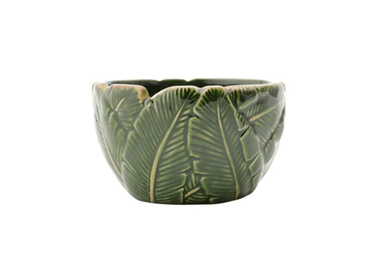 Centro De Mesa De Cerâmica Banana Leaf Verde 11x11x6, 5cm Lyor Verde