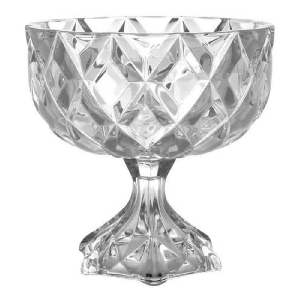 Centro De Mesa Decorativo Com Pé De Cristal Deli - 18x18cm