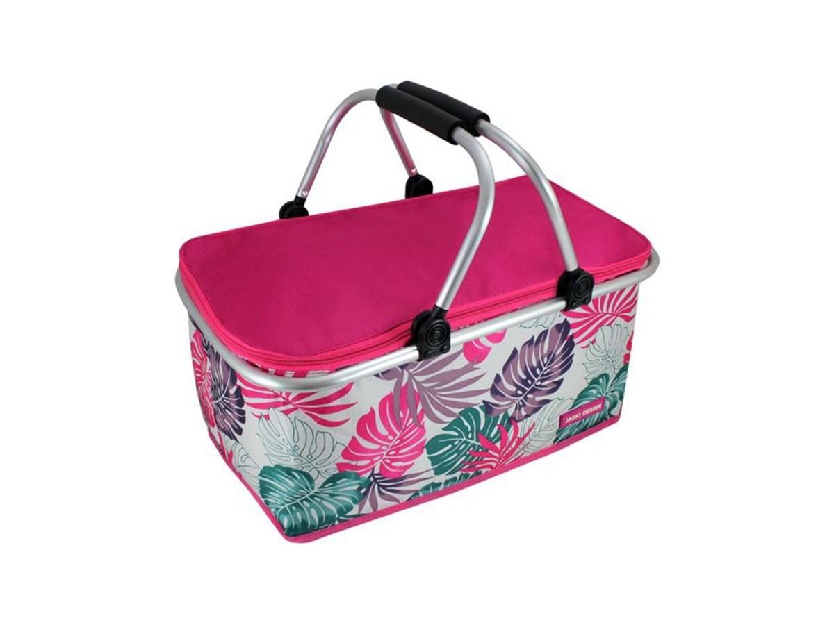 Cesta Térmica para Piquenique Bella Vitta Retrátil Tropicalia Rosa Pink - 20 x 47 x 12 cm