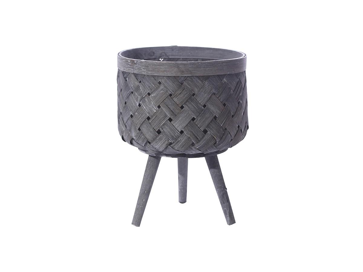 Cesto em Bambu Vazado com pé de madeira - 26 x 20 cm
