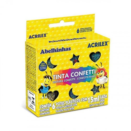 Conj Tinta Confetti 15Ml C/6 Cores