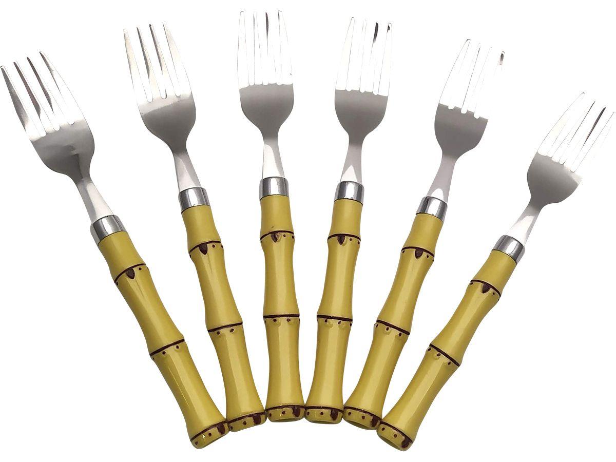 Conjunto 6 Garfos De Sobremesa Aço Inox Com Cabo Plástico Bambú Natural