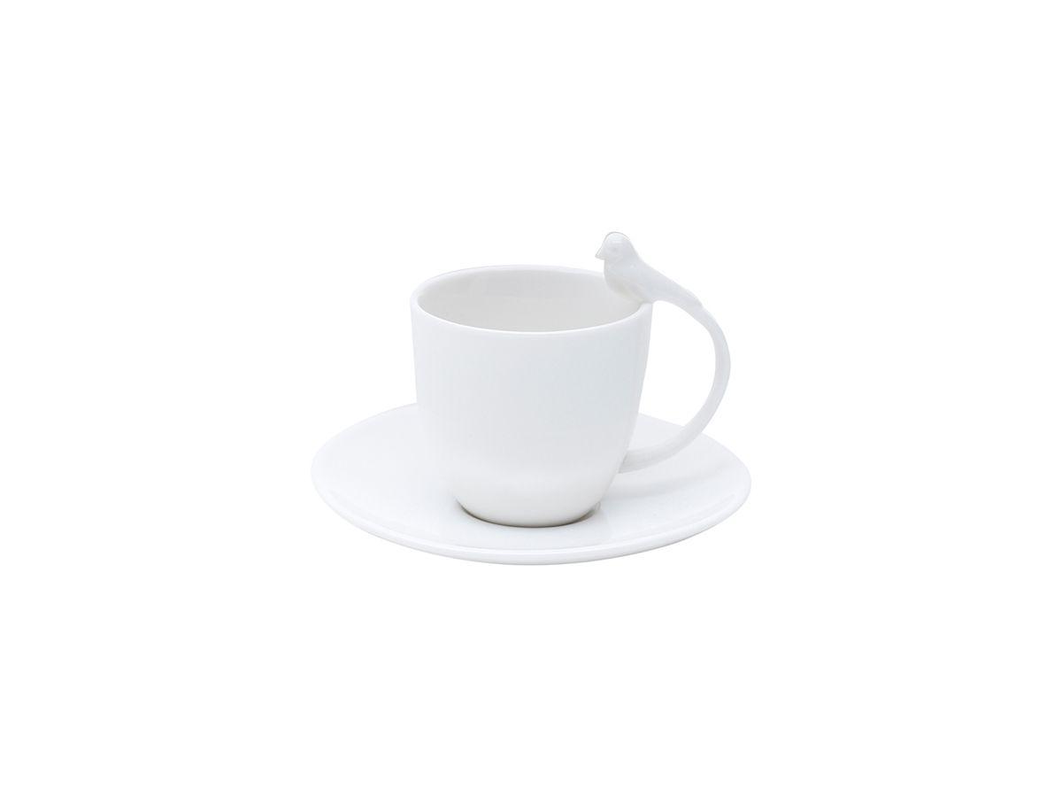 Conjunto 6 Xícaras De Café Com Pires De Porcelana Birds 85Ml