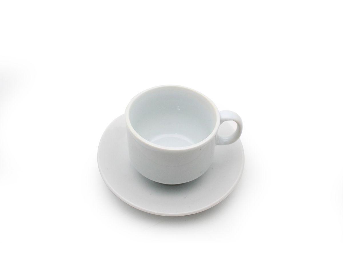 Conjunto 6 Xícaras De Café Com Pires De Porcelana Branca 60 ml