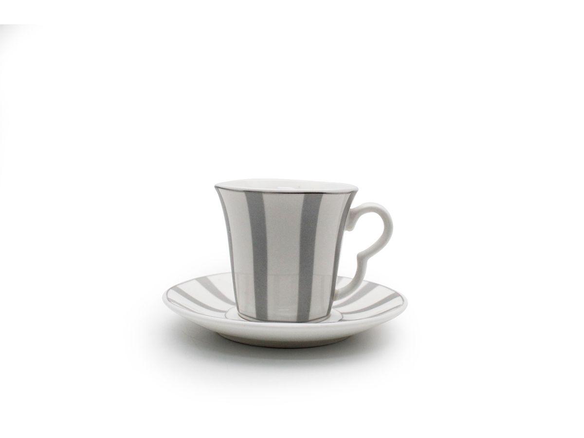 Conjunto 6 Xícaras De Café Com Pires De Porcelana Listrado Prata 80 ml