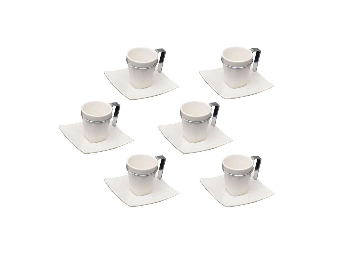 Conjunto 6 Xícaras De Café Com Pires De Porcelana Spril 80 Ml