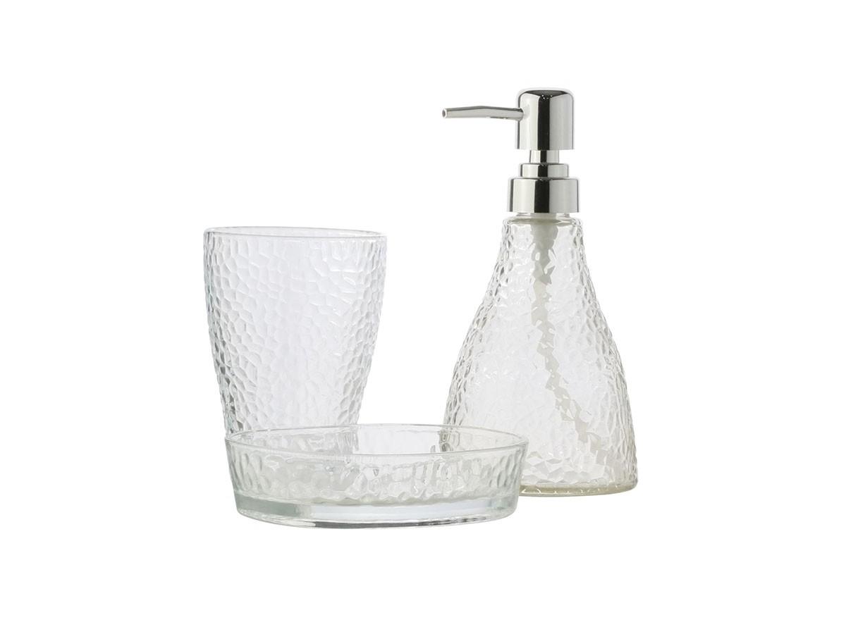 Conjunto com 03 peças para banheiro em vidro Elegant Prateado