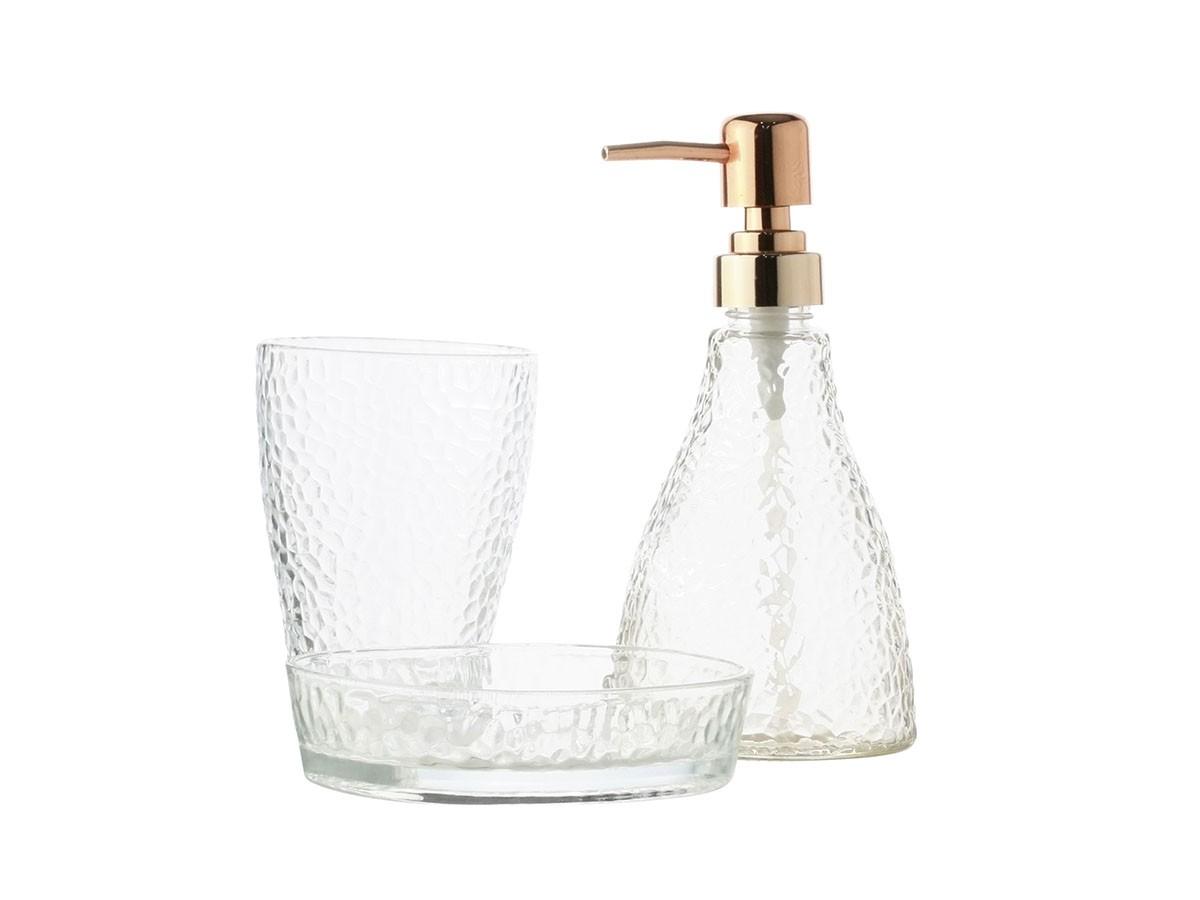 Conjunto com 03 peças para banheiro em vidro Elegant Rosé dourado