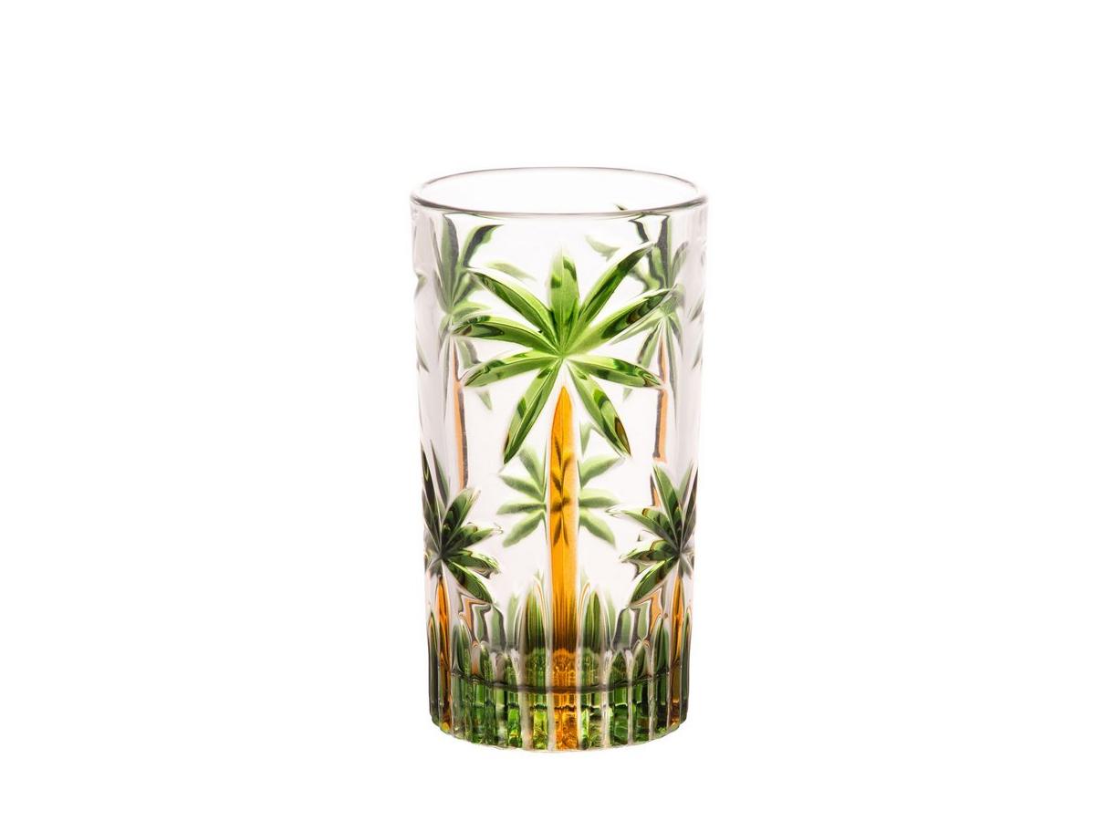 Conjunto Copos Altos Cristal Chumbo Palm Tree HandPaint