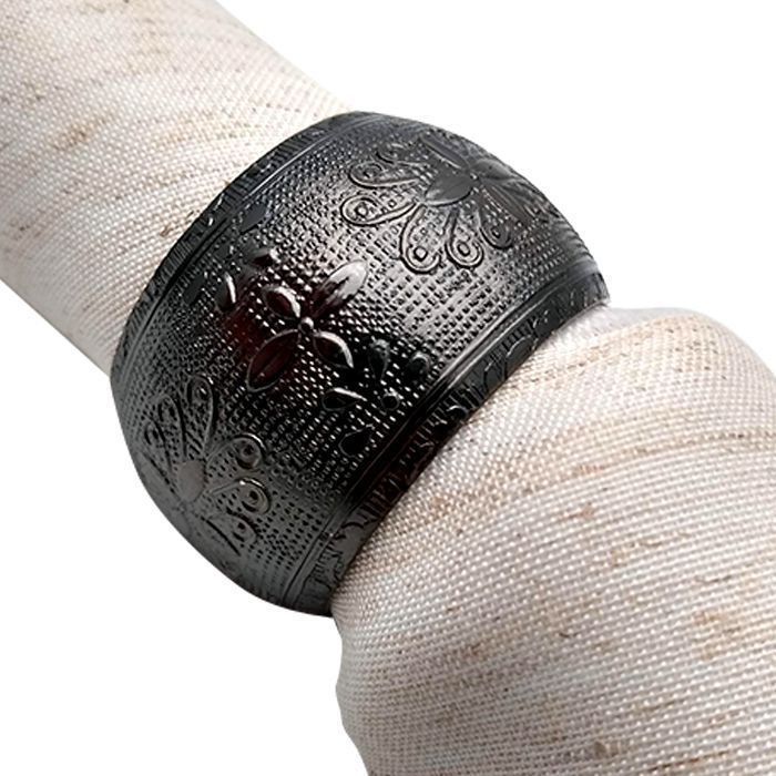 Conjunto De 4 Anéis Para Guardanapos Em Alumínio Prata Escuro Lyor