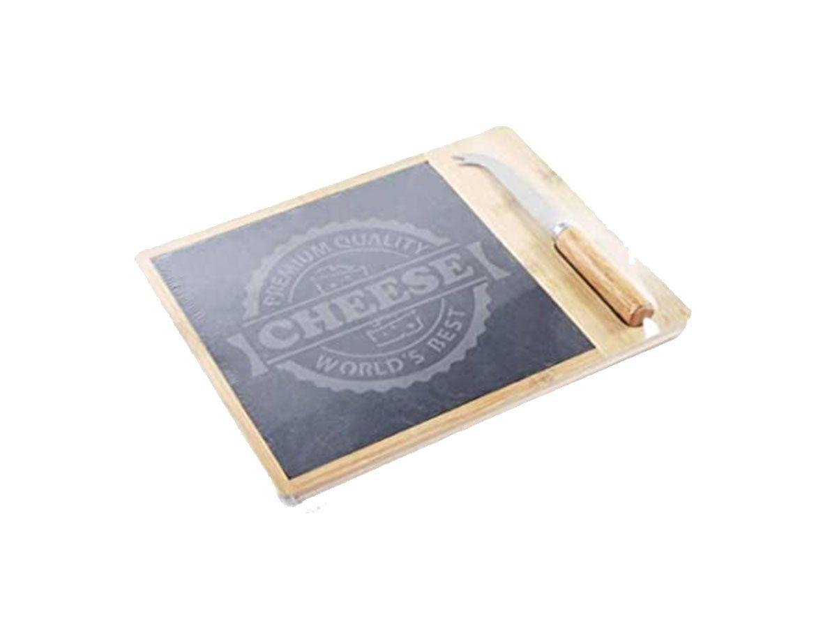 Conjunto para queijo em bambu com 3 peças - 28x22 cm