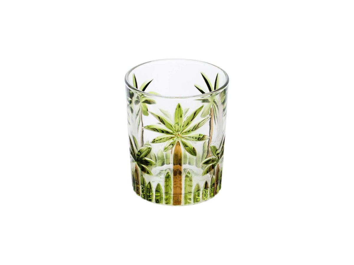 Copos Baixos Cristal Palm Tree HandPaint 340 Ml