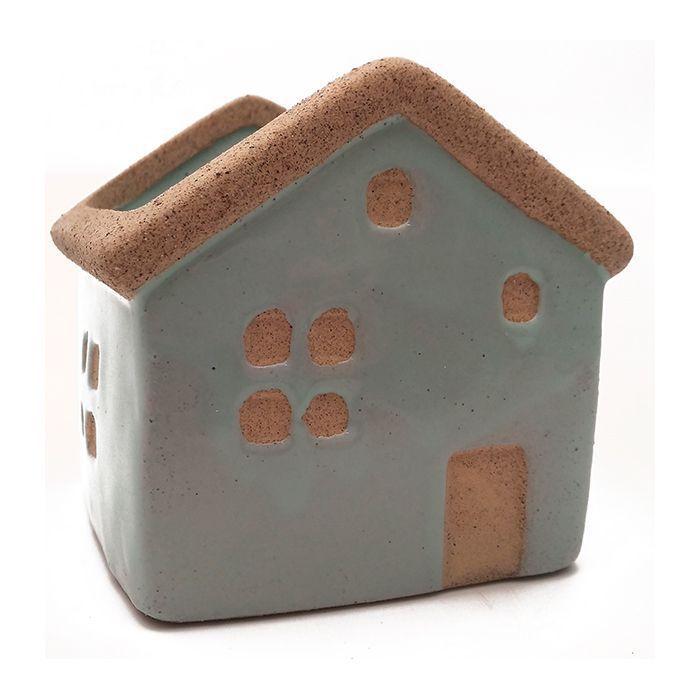 Enfeite Ceramica Casa Verde 6,5X7Cm