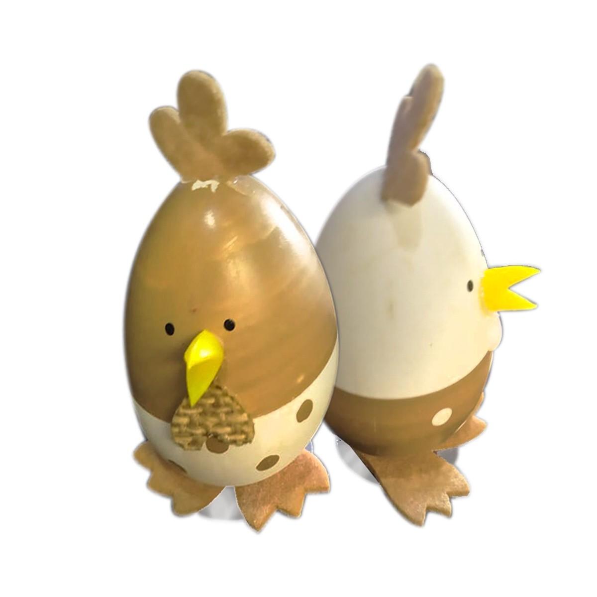 Enfeite Pascoa Ovos Bege e Branco com 2 Unidades