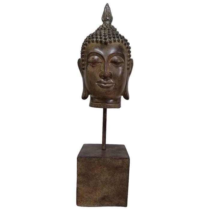 Escultura Cabeça De Buda Com Base