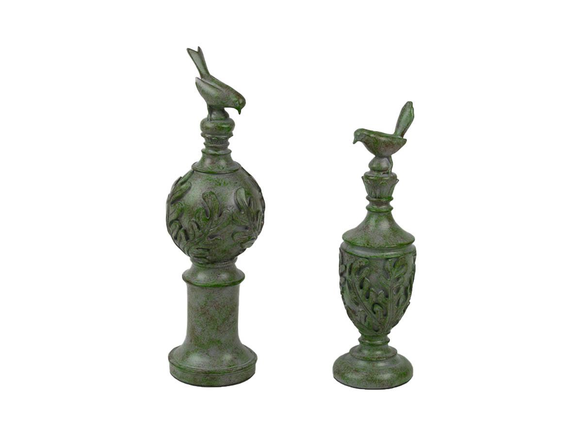 Escultura Decor Dupla Passaro Verde 34,5/41cm