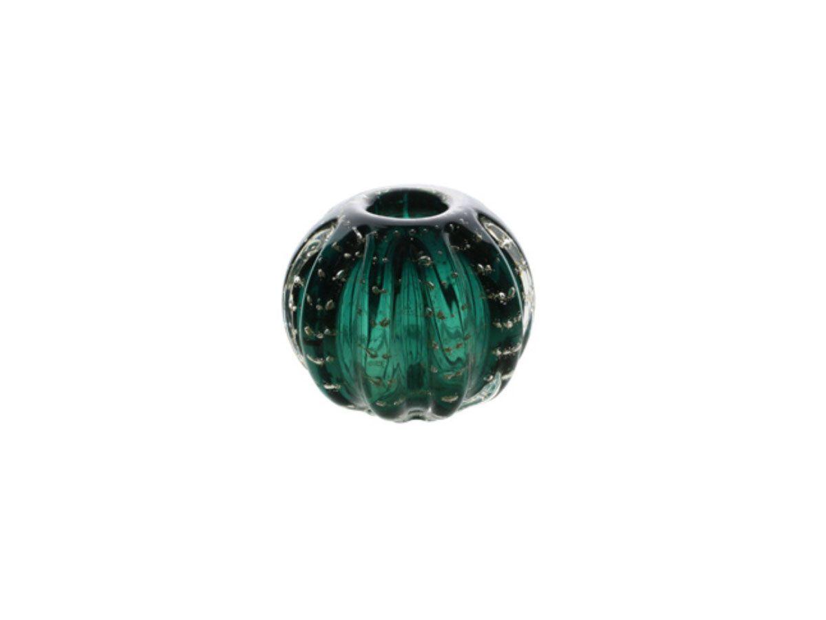 Esfera de Vidro Italy Verde Esmeralda com Dourado - 12 cm