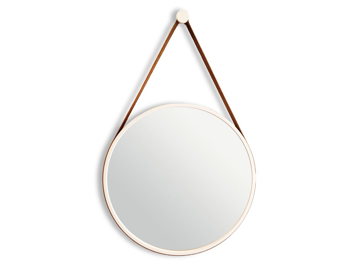 Espelho Decorativo Branco com Alça Couro Marrom 66.5 x 40.5 cm