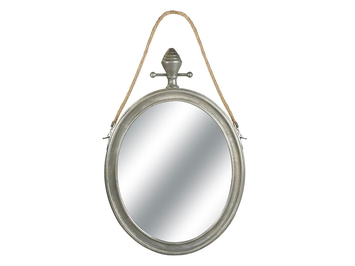 Espelho Oval Decorativo Metal Prata com Corda 64x42x6cm