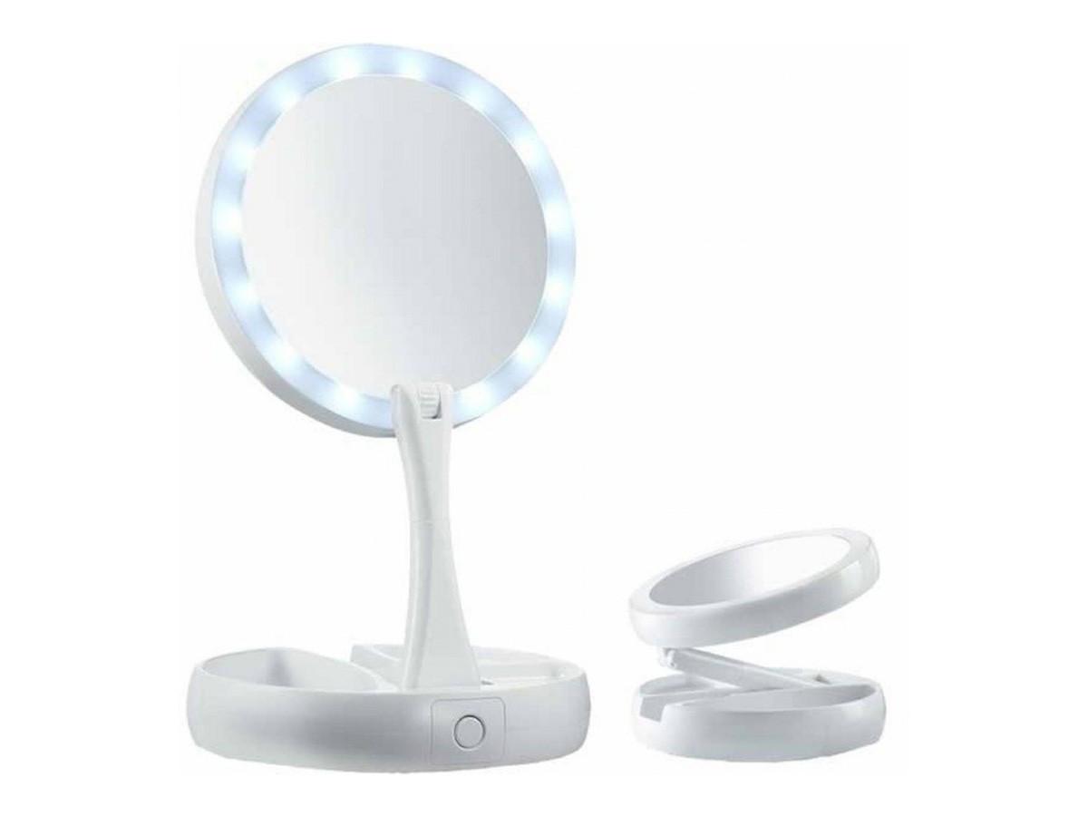 Espelho redondo com moldura em led USB recarregável - 28 cm