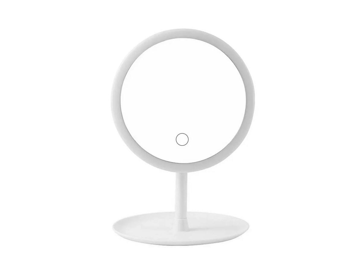 Espelho redondo com moldura em led USB recarregável - 15,6 cm