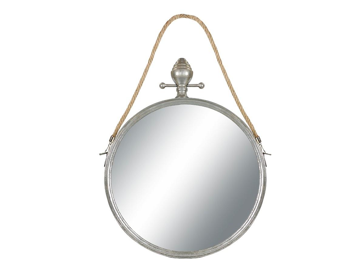Espelho Redondo Decorativo Metal Prata com Corda 57x45x6cm