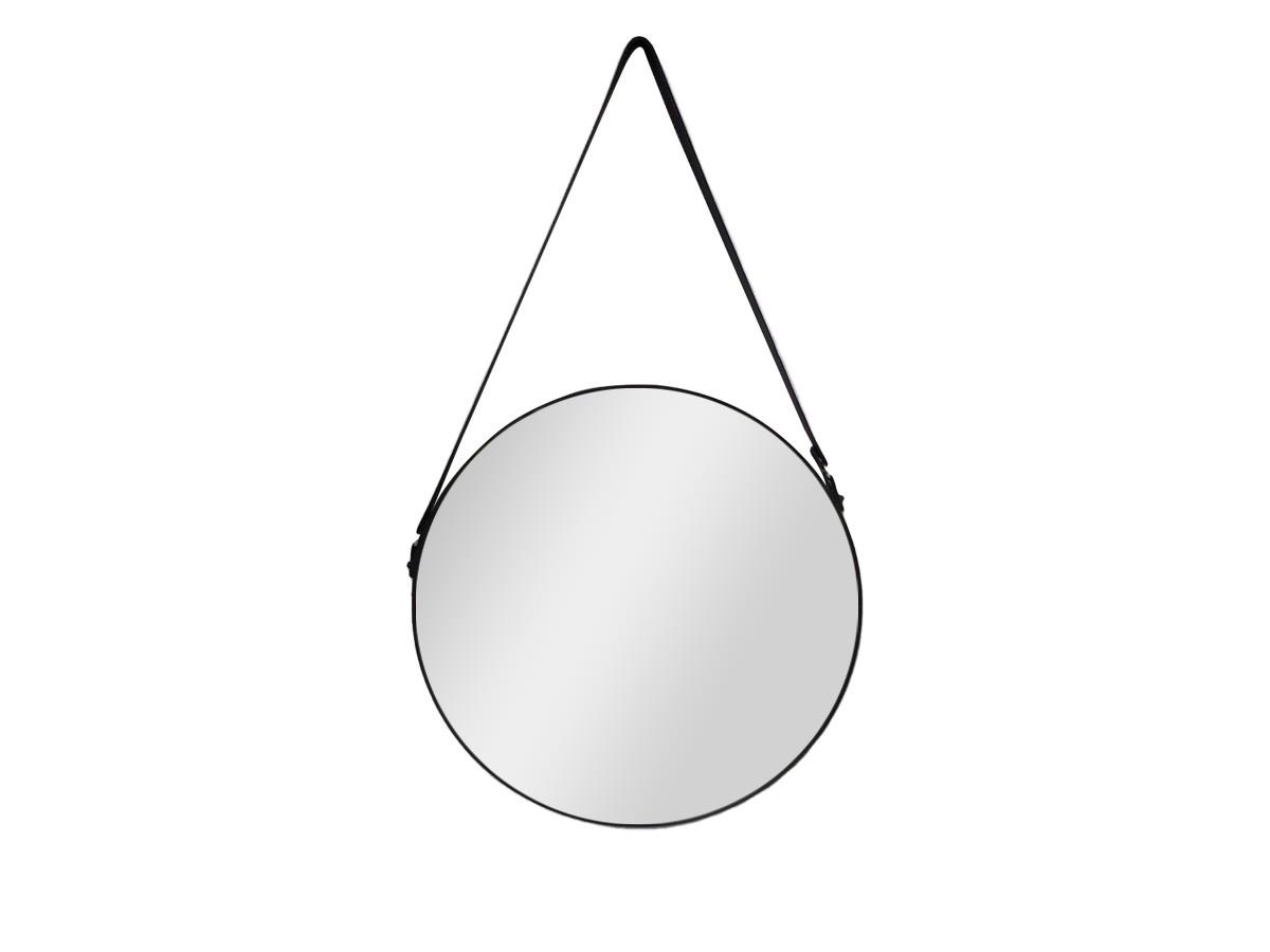 Espelho Redondo Preto c/alca Courino -  66,5X40,5CM