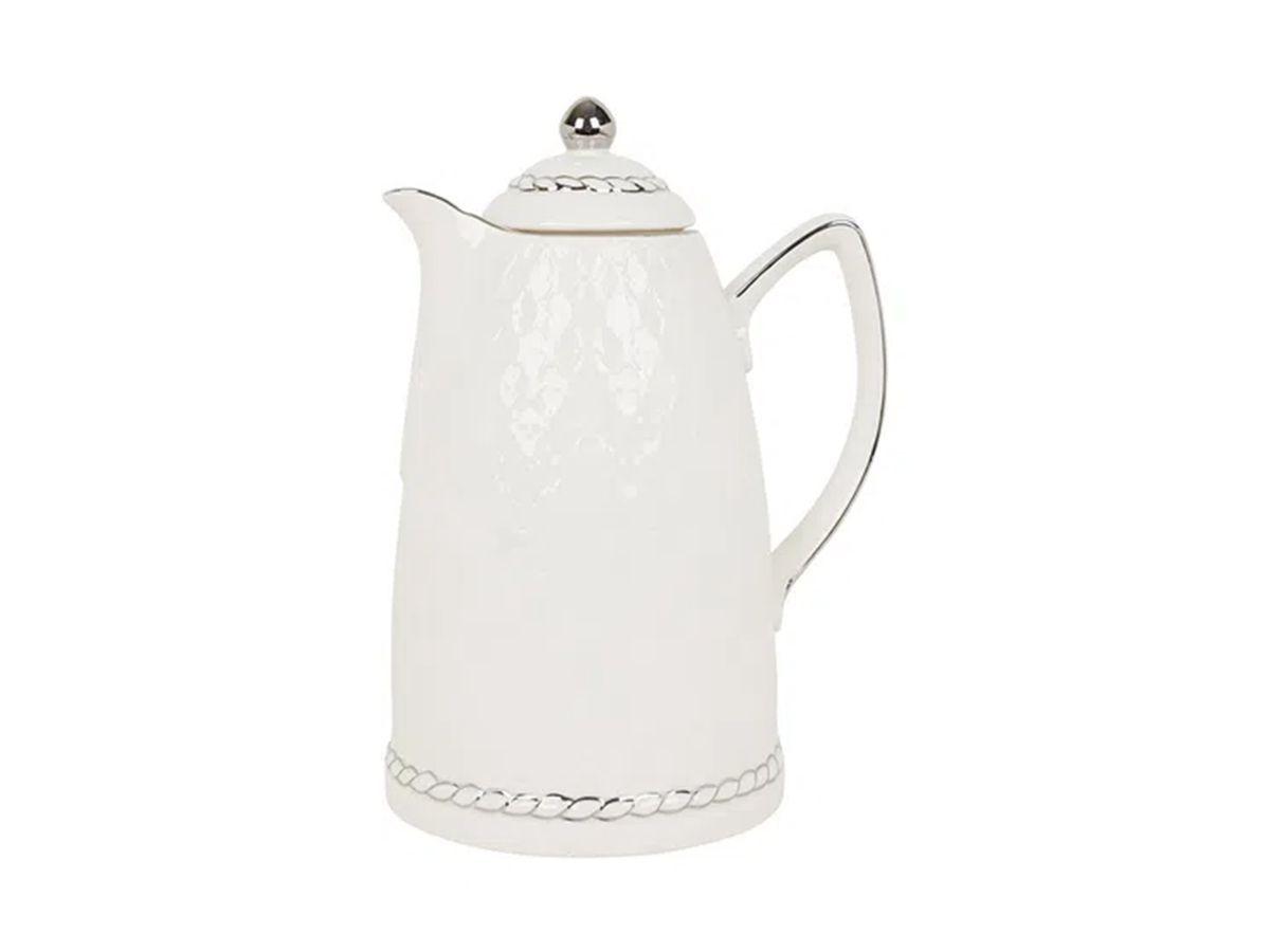 Garrafa Térmica De Porcelana Branca Com Borda Prata 900 Ml