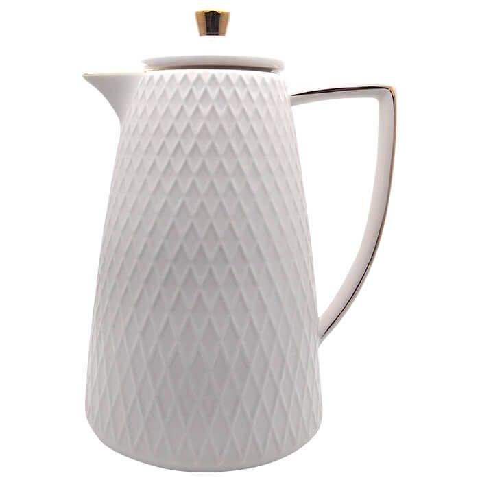 Garrafa Térmica De Porcelana Com Borda Dourada 900 Ml