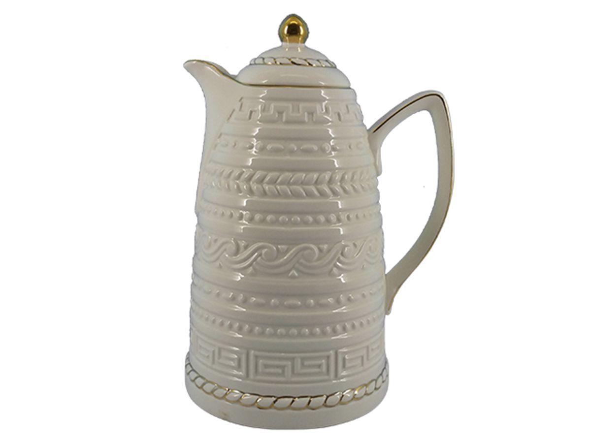 Garrafa Térmica De Porcelana Com Borda Dourada 900 Ml Macrame Branca