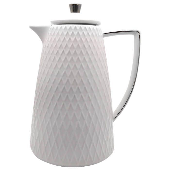 Garrafa Térmica De Porcelana Com Borda Prata 900 Ml