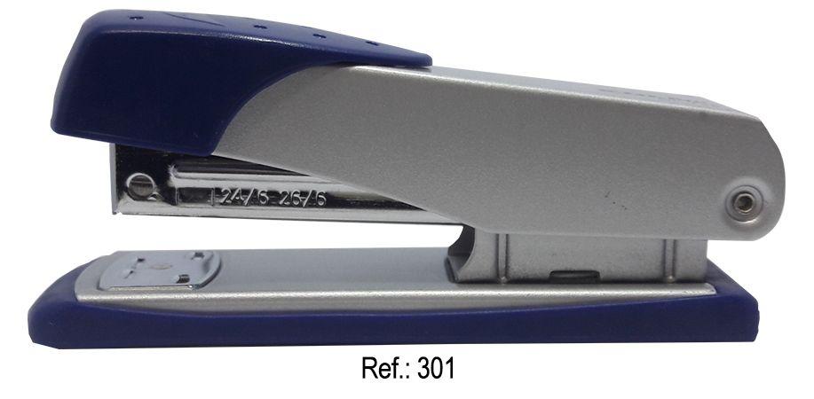 Grampeador 25 Folhas Em Metal Bege Com Azul
