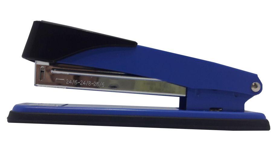 Grampeador 50 Folhas Em Metal Azul