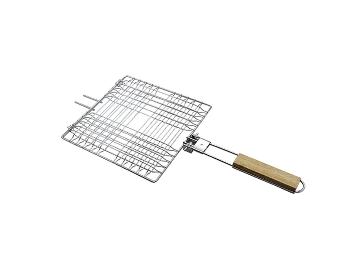 Grelha Easy Grill em inox com cabo de madeira - 52 x 23 cm