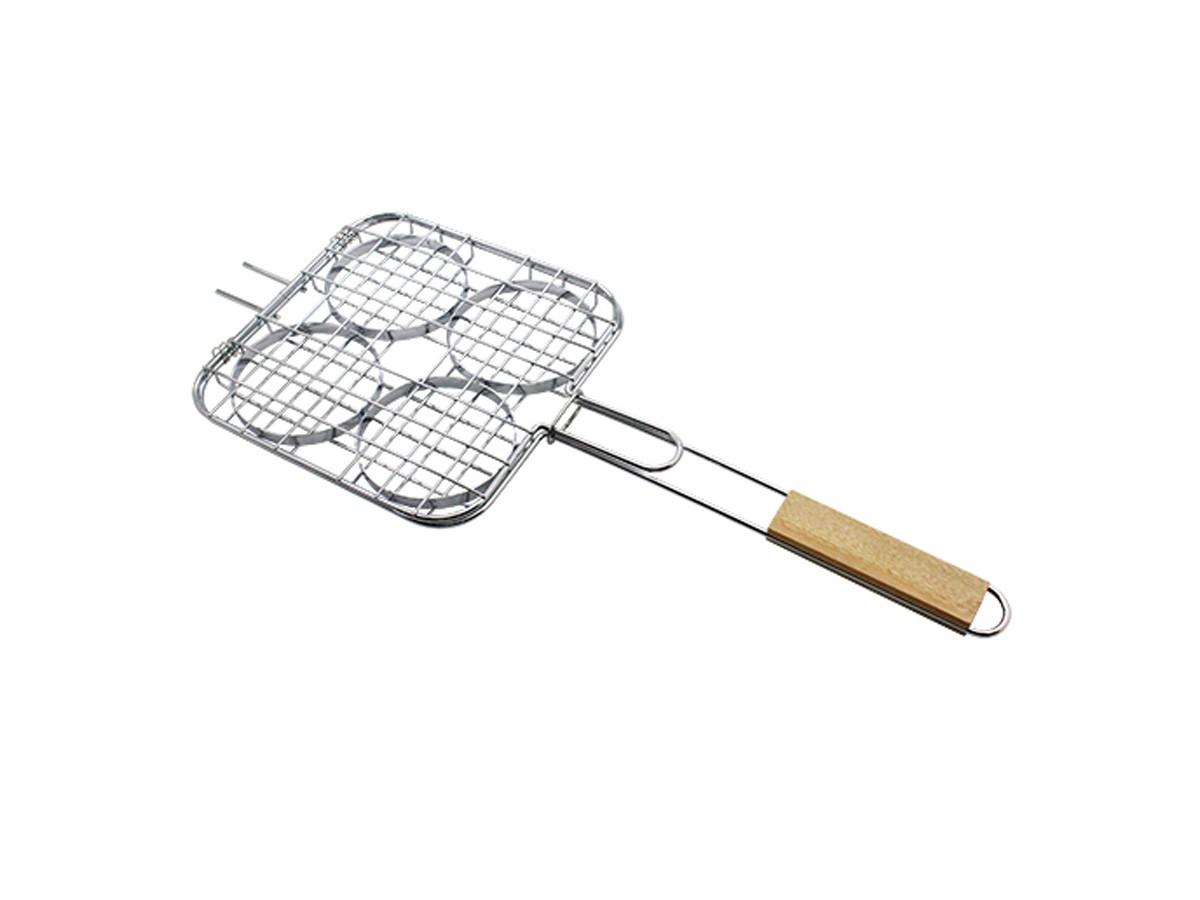 Grelha para hambúrguer com cabo de madeira Easy Grill - 55,5 x 12 cm