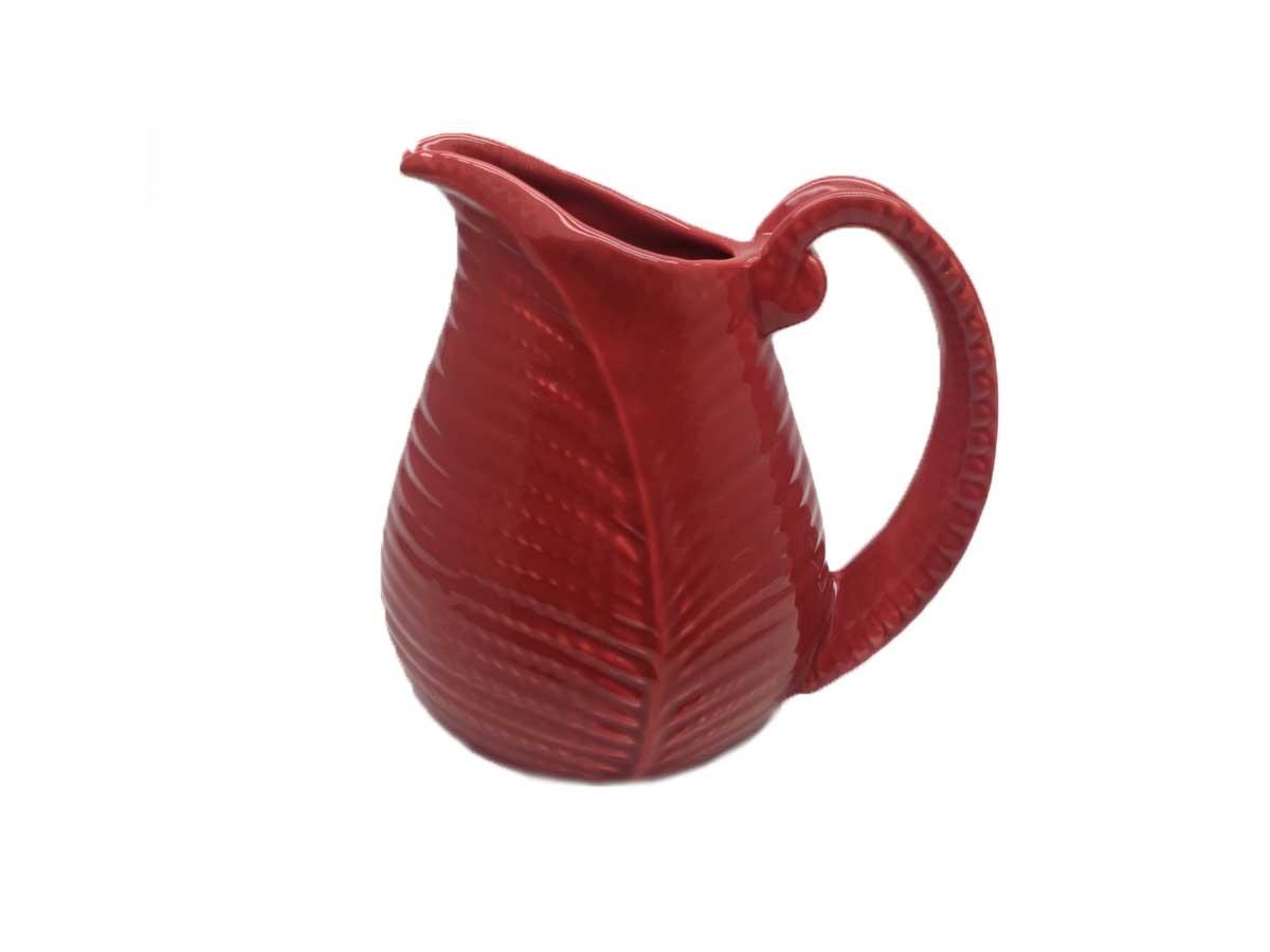 Jarra em cerâmica folha vermelha - 18 cm