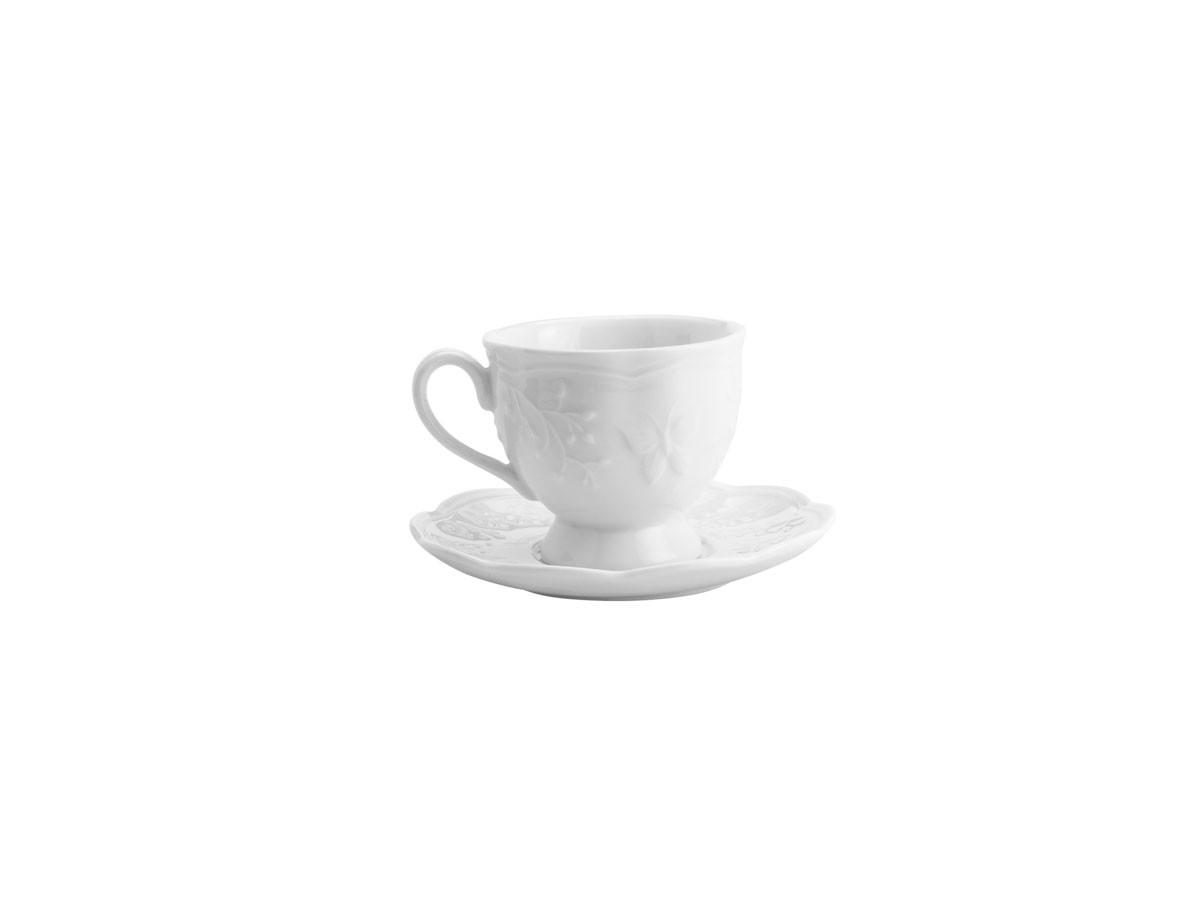 jogo de 06 xícaras para café com pires em porcelana New Bone Butterfly Flower - 100 ml