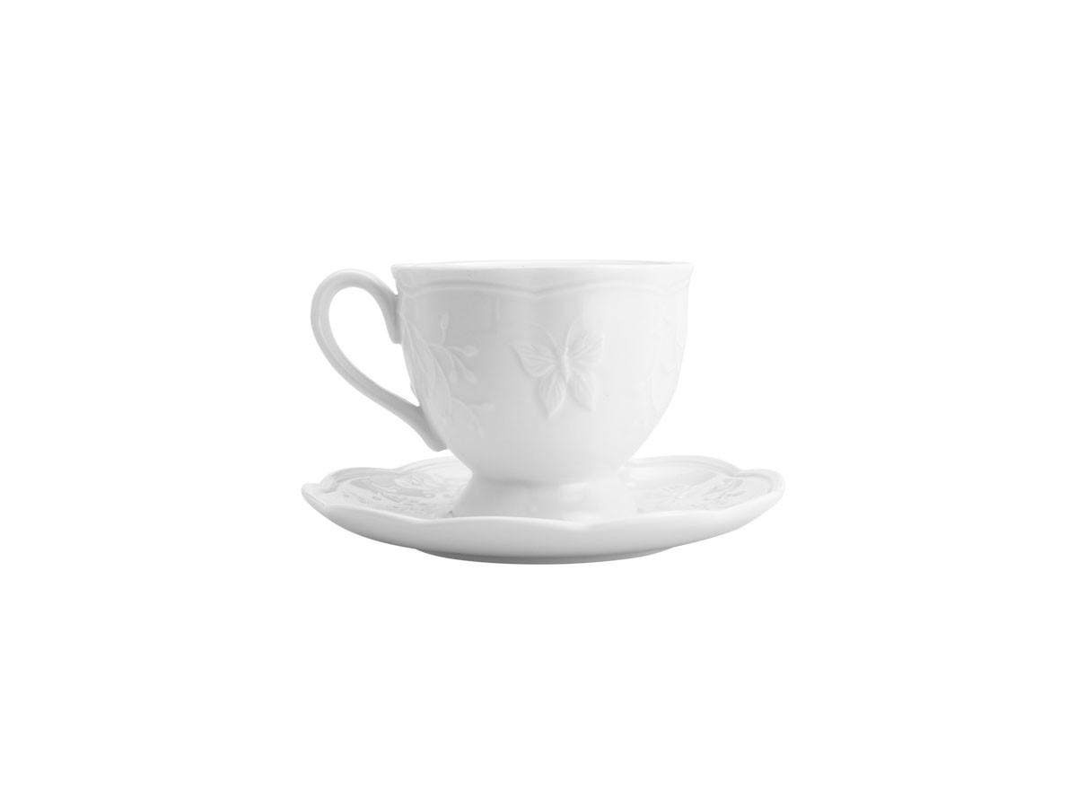 Jogo de 06 xícaras para chá com pires em porcelana New Bone Butterfly Flower - 200 ml
