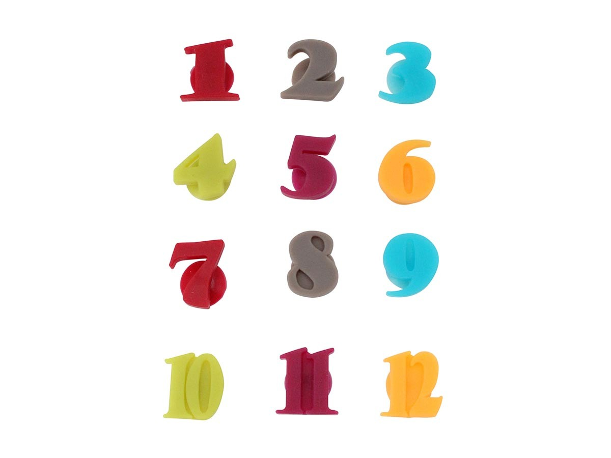 Jogo de 12 marcadores de taça número em silicone colorido com ventosa