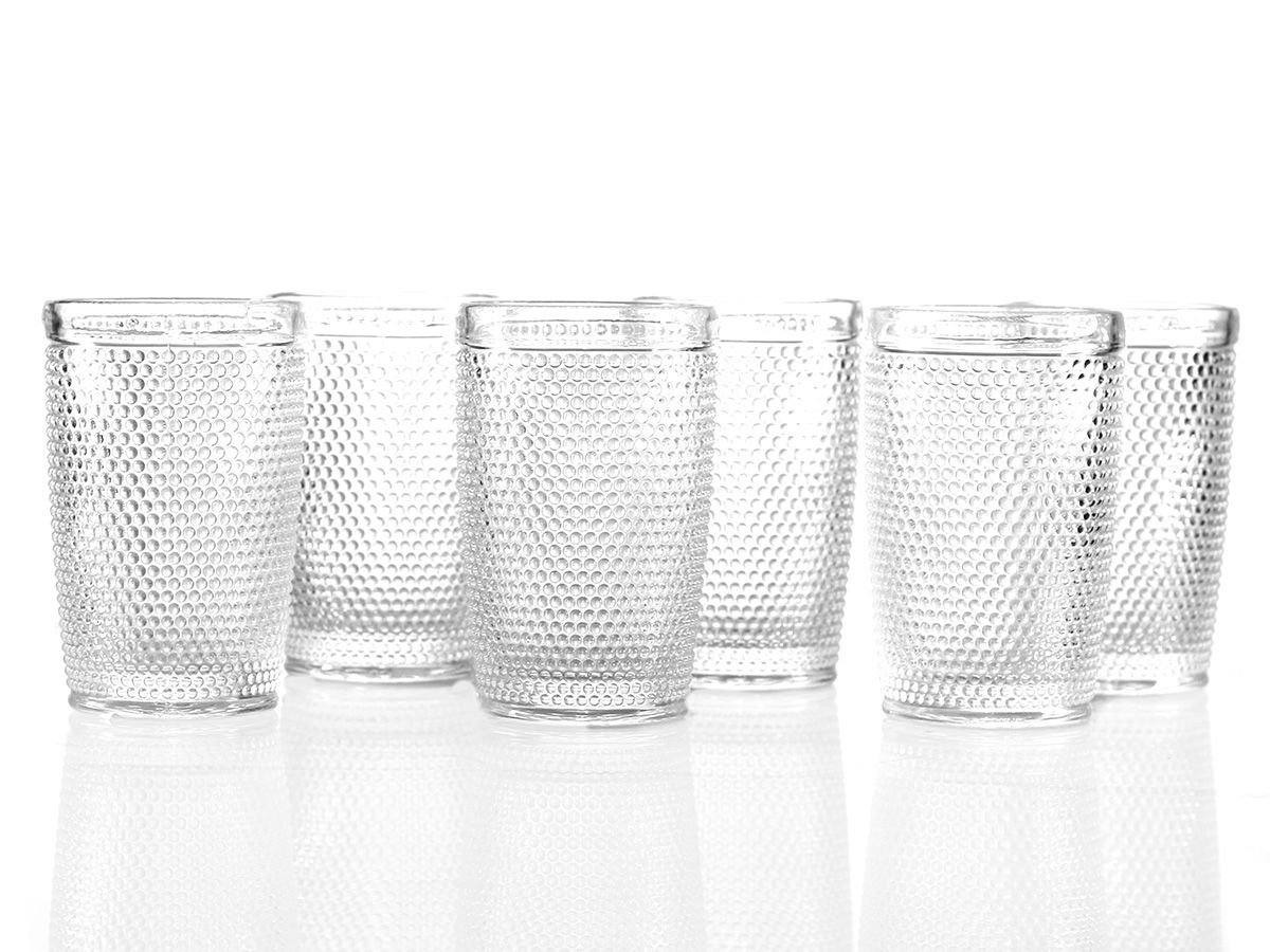 Jogo de Copos Bolinha em Vidro Transparente de 400 ml com 06 Peças