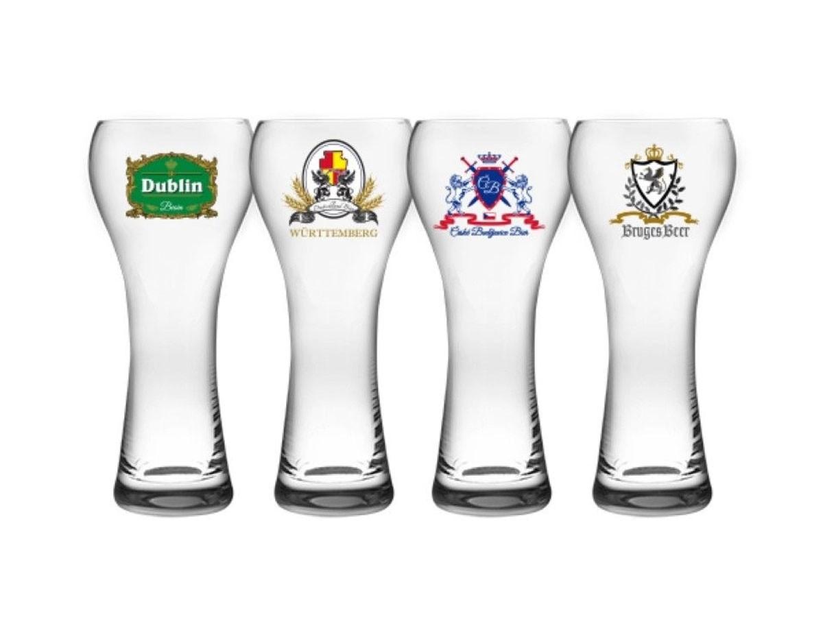 Jogo de Copos para cerveja Windsor em Cristal Ecológico com logos - 04 peças 400ml