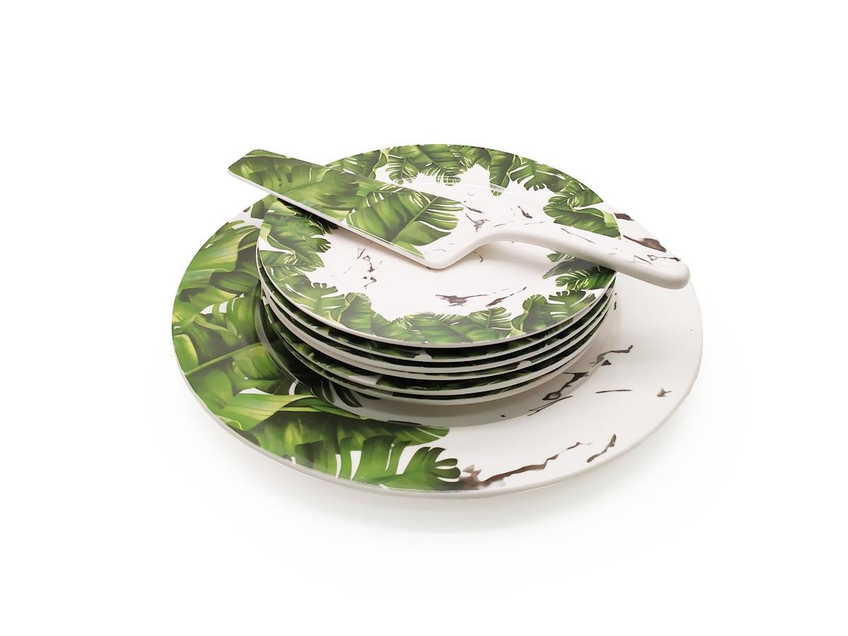 Jogo de Pratos Para Bolo Cerâmica Tropical Verde 8 Peças