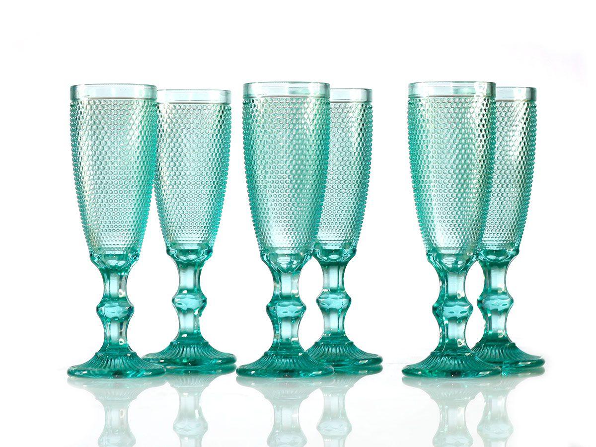 Jogo de Taças Bolinha para Champagne em Vidro Azul Tiffany de 200 ml com 06 Peças